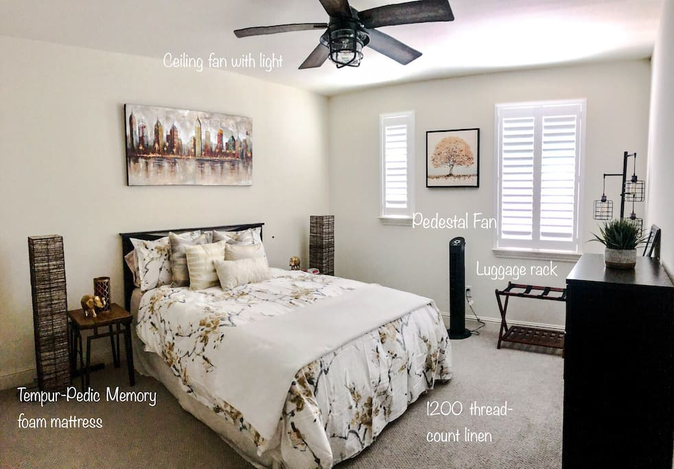 Guest Bedroom: Queen bed with a brand-new memory foam infused tempurpedic mattress.  Amenities: 1200 tread-count sheets, clean linen, ceiling and pedestal fan, luggage rack, iron & ironing board.