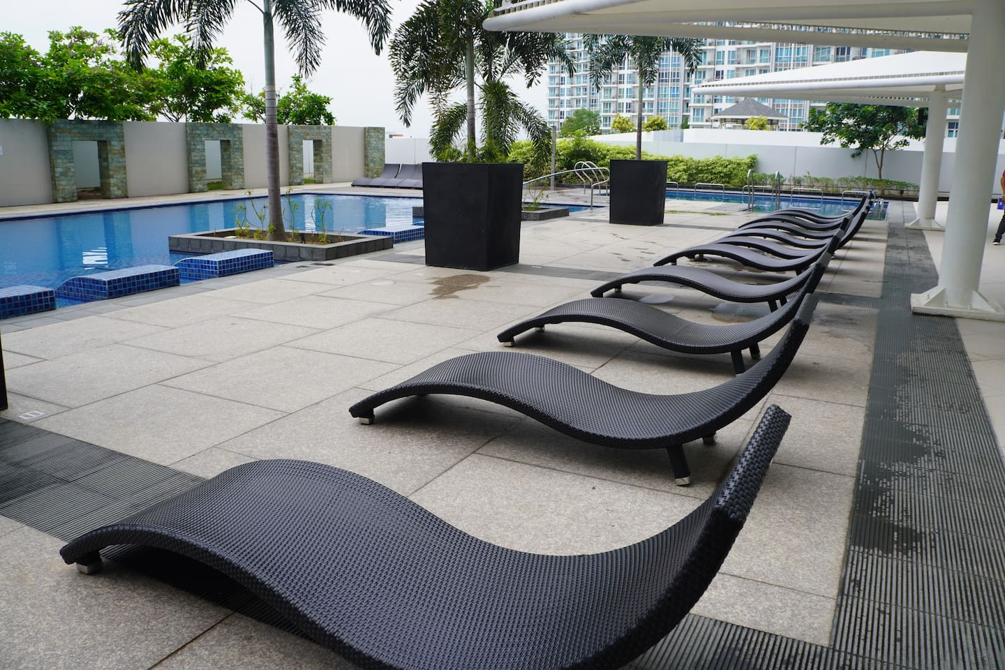 Access to swimming pool is free of charge for 2 guests. They may ask a small fee for extra guests. The swimming pool opens 8 AM to 10 PM. It is closed on Mondays for maintenance.