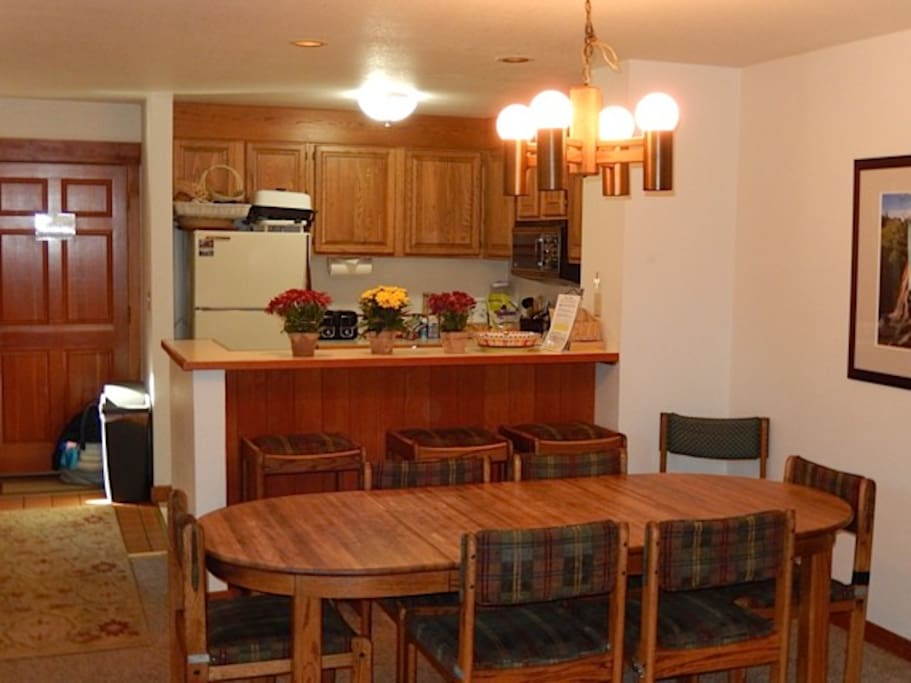 Kitchen and dining room table.
