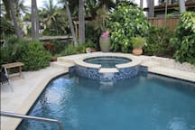 Perfect blend of privacy and views of the water from the heated pool