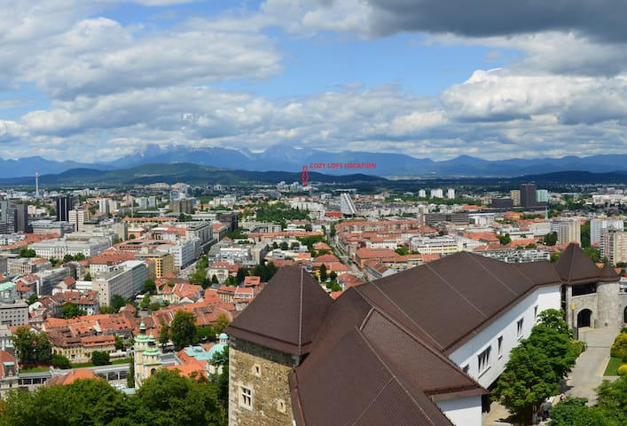 location of cozy loft - view from Ljubljana Castle Tower