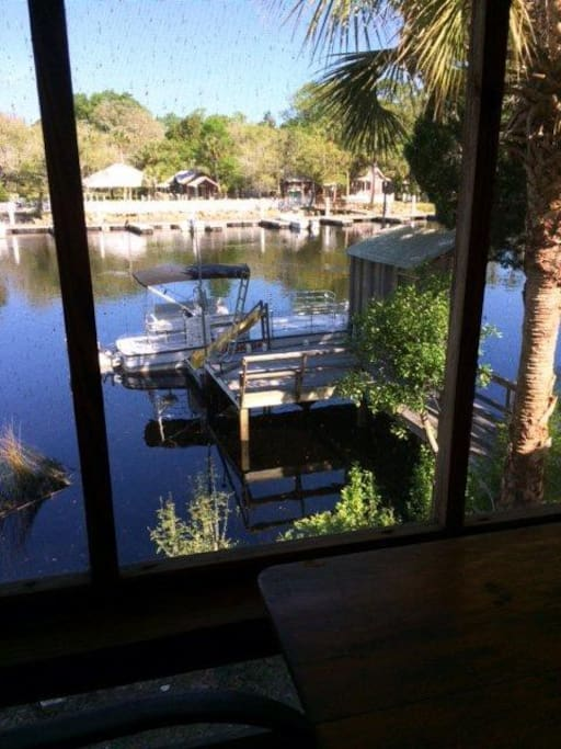 A view of the dock and Steinhatchee River from the porch.