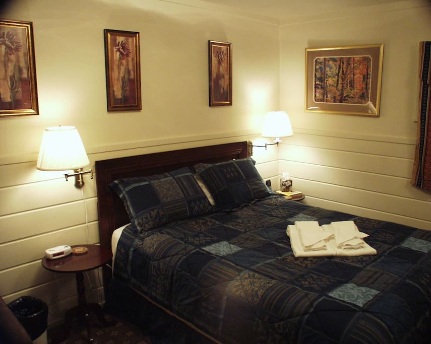 Master bedroom with a queen bed and a upgraded hide-a-bed couch/chair.