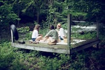 Deck on Stoney Creek a great place for a picnic, meditation or morning yoga.