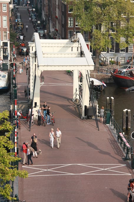 View from bay window on Skinny Bridge and canal