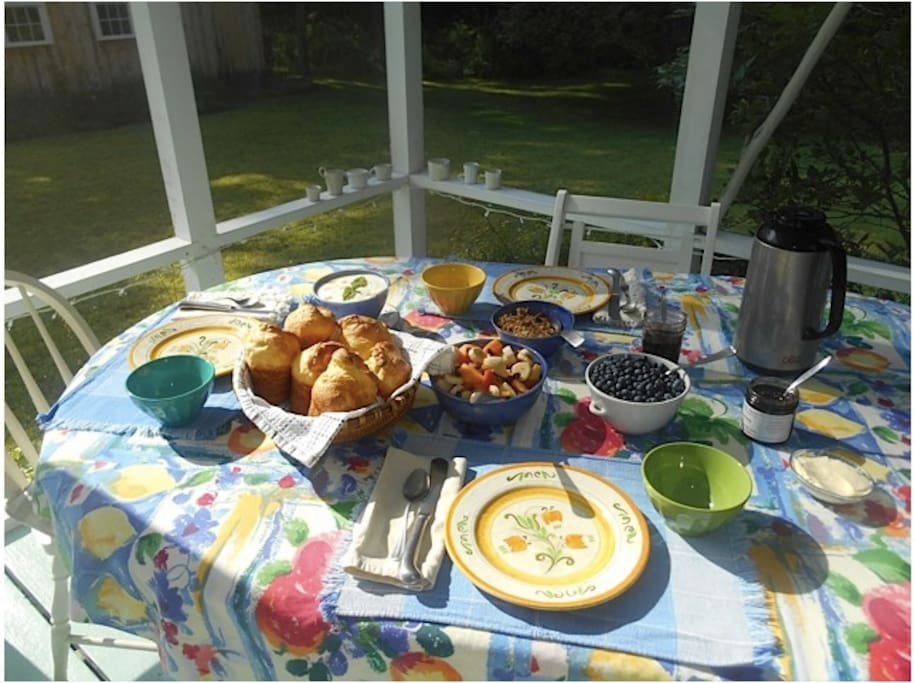 Complimentary breakfast on the porch of the main house with out-of-the-oven popovers.
