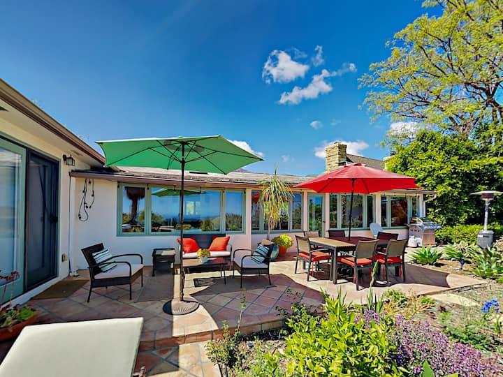 Romantic Garden Retreat with Hot Tub & Ocean Views