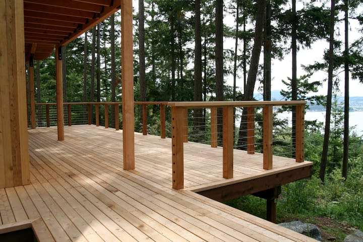 West facing deck overlooking the San Juan Islands.