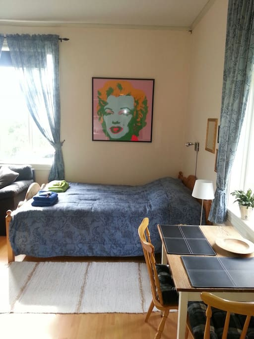 Double bed and sitting group
