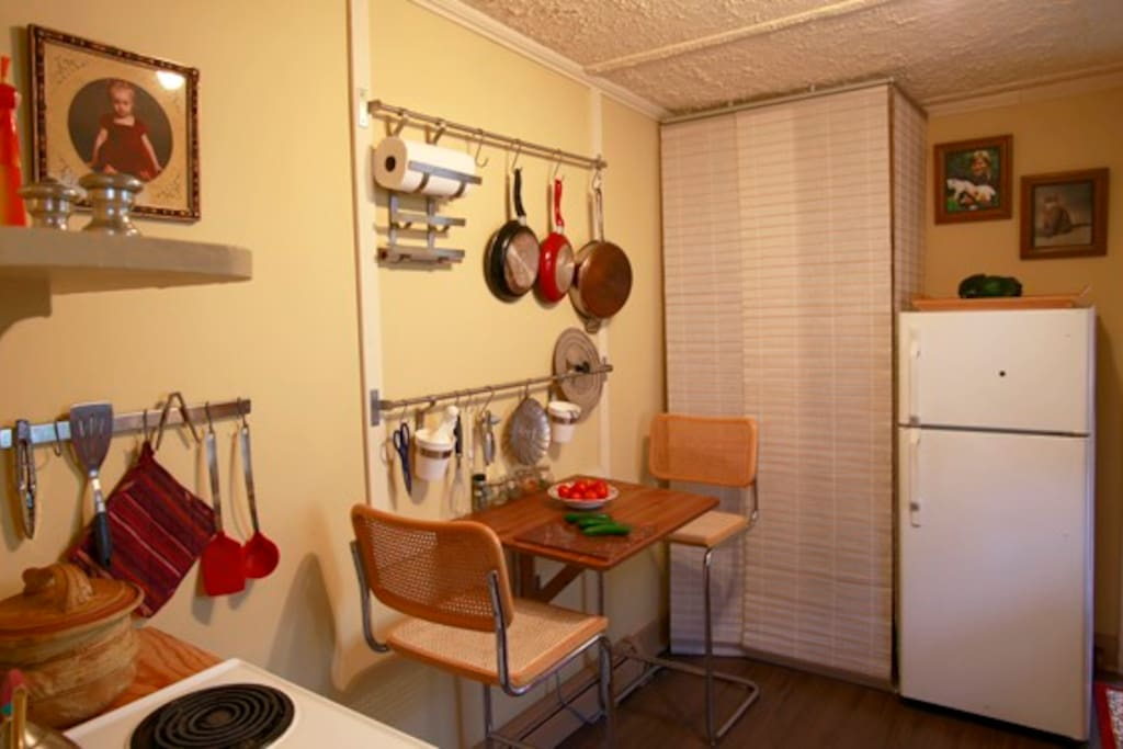 The kitchen is organized for easy cooking -- everything is easy to find.