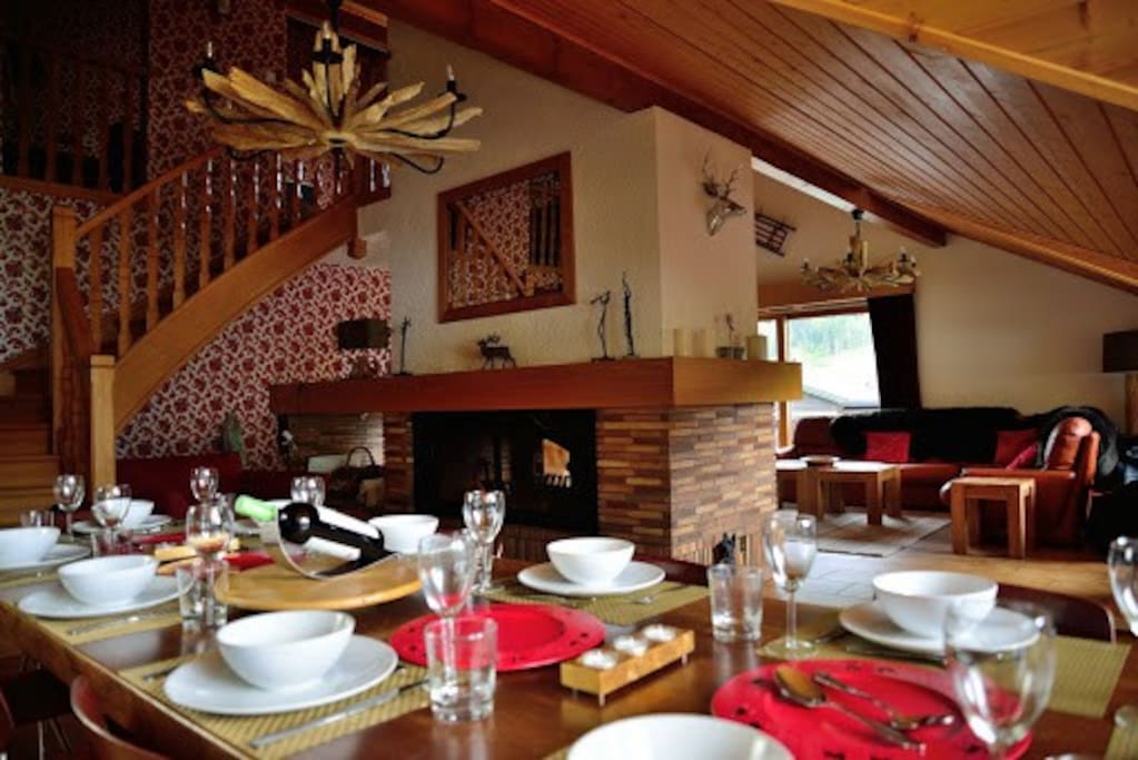 Extravagant dining area with splendid roaring log fire