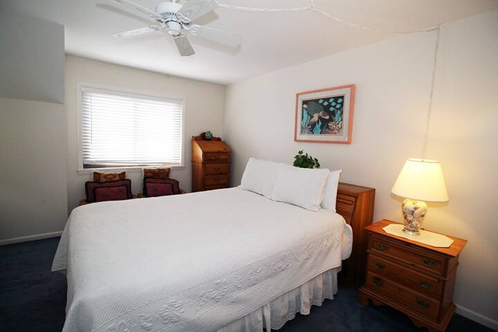 Bedroom 1 has a double bed, flat screen TV, and a great ocean view  - 2nd level