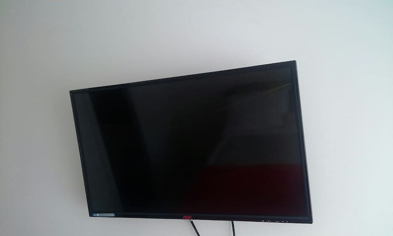 TV with cable in the bedroom