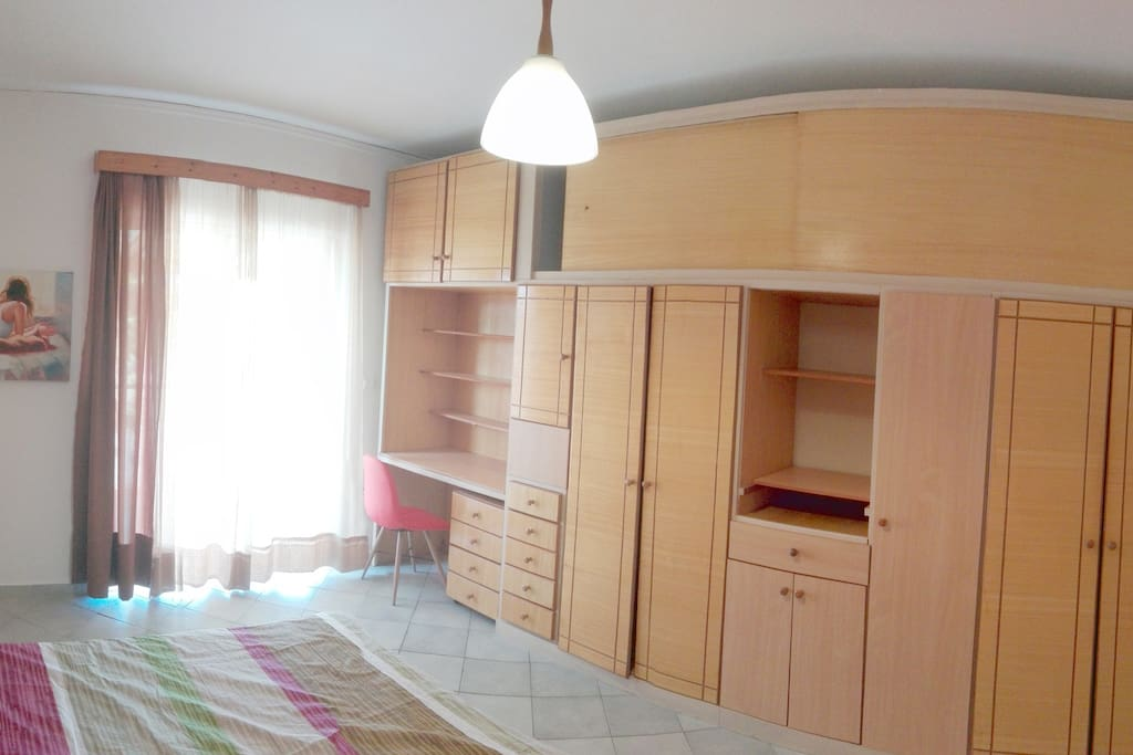 Double Bed with Desk and extra big wall to wall wardrobe and cabinets