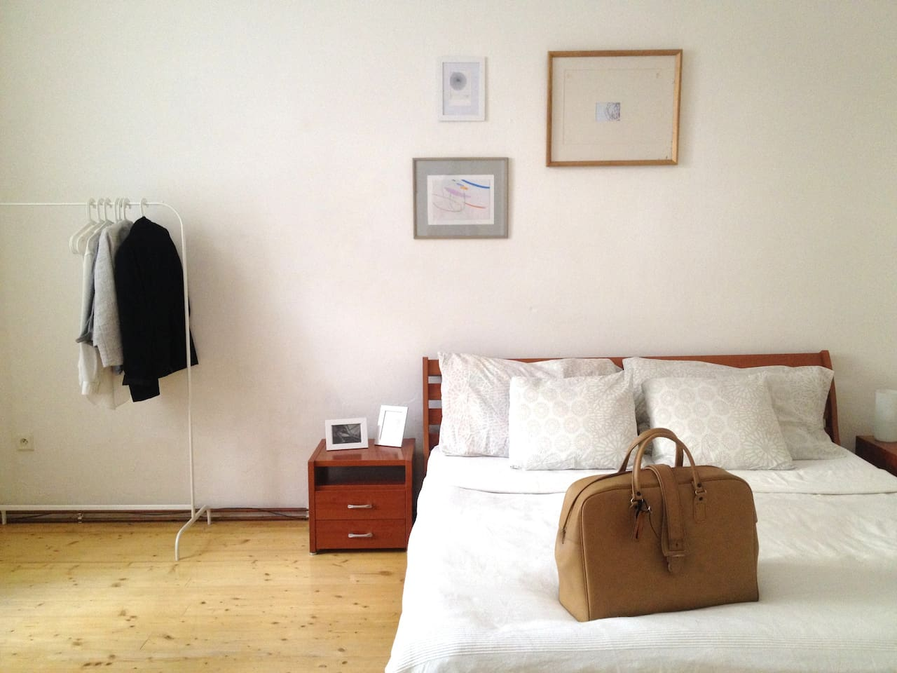 Our comfy bedroom with bed which is 180x200.