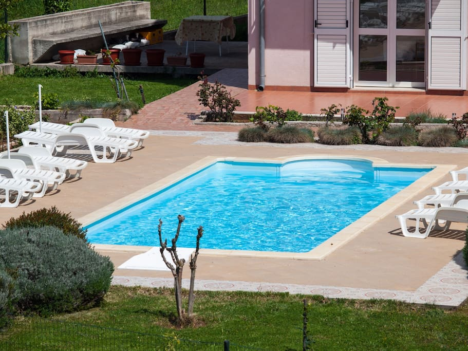 Swimming pool and sunbeds