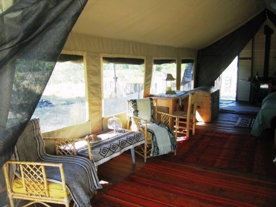 Safari Tent on the river. Electricity, bathroom, kitchen, hot water, gas stove.