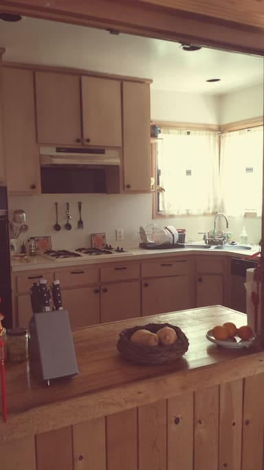 Full size private kitchen. Fully stocked and ready for some good cookin'. Stainless steel Dishwasher and refrigerator.