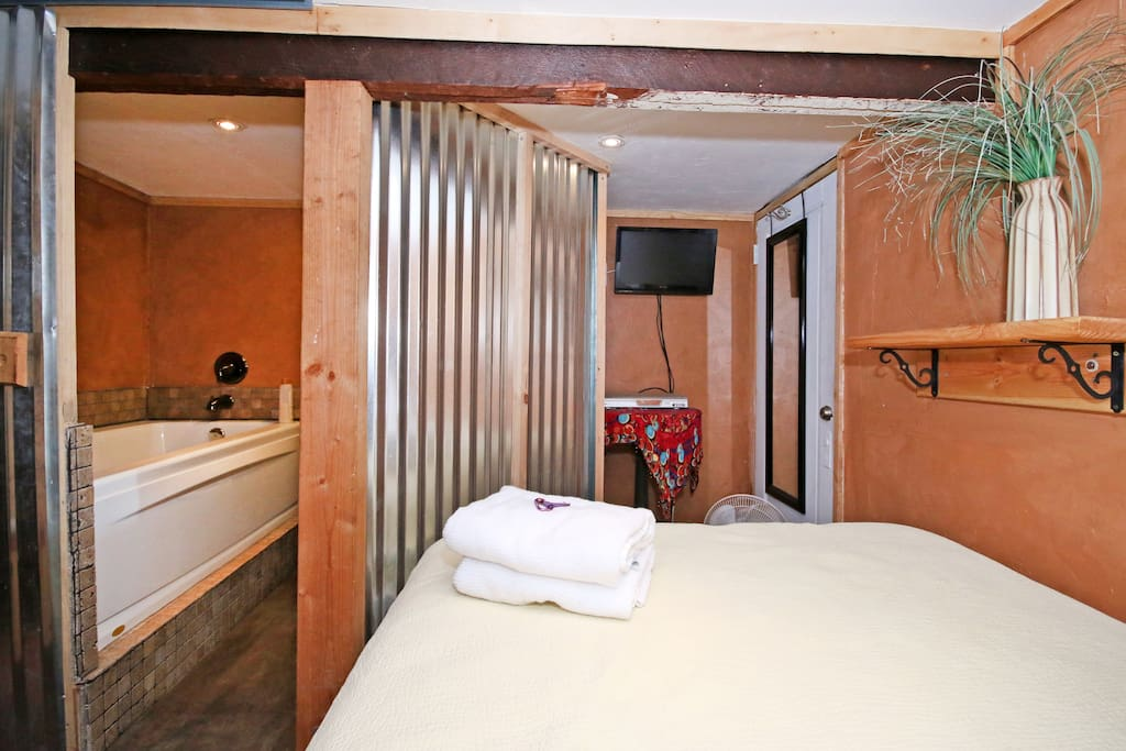 Very High end mattress in this funky converted wine cellar