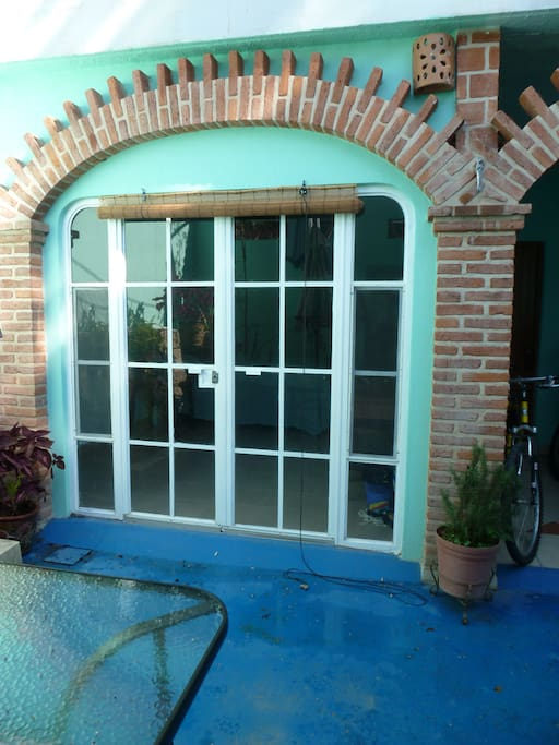 View of French doors from patio