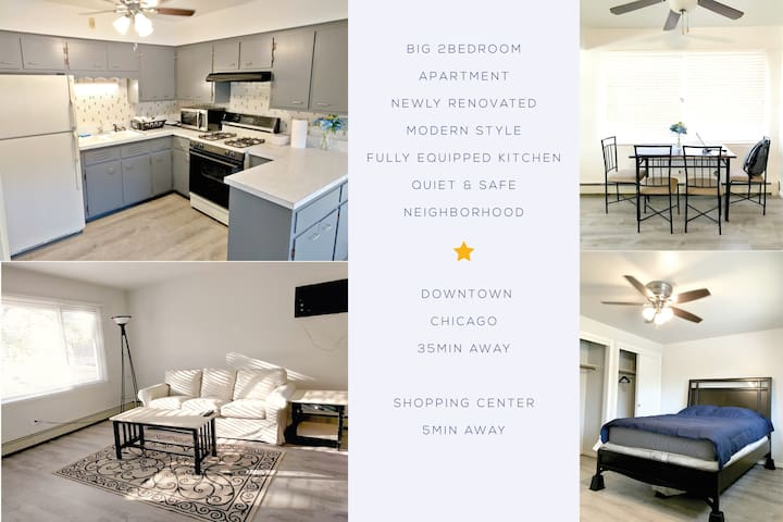 WHOLE 2BR APMT, 35 MINS TO DOWNTOWN CHI