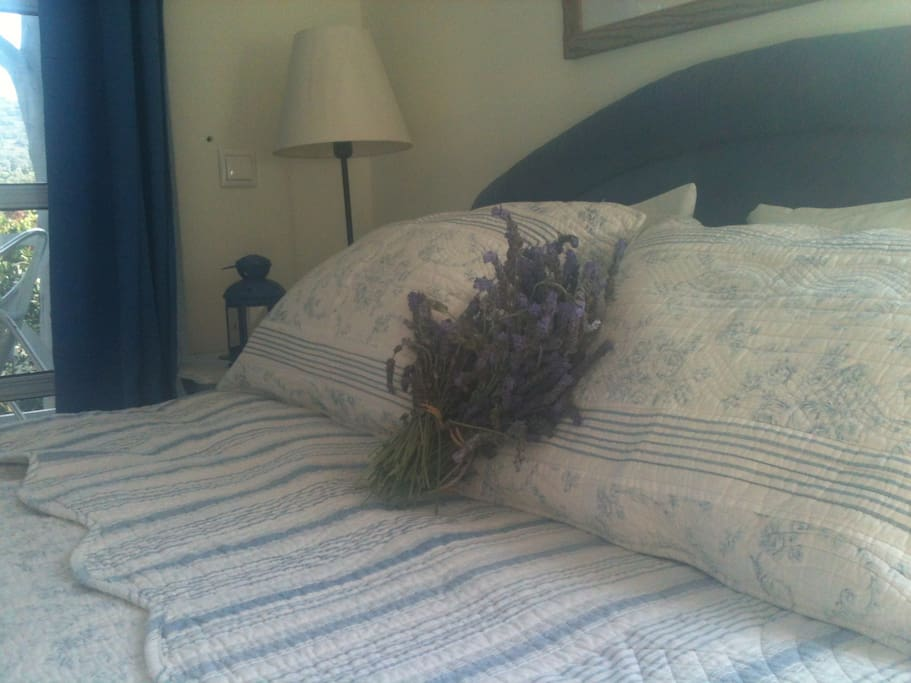 The Lavender Room! Cool, clean, peaceful & as the name suggests calming!  Small double room with ensuite bathroom & private balcony overlooking the garden and pool.