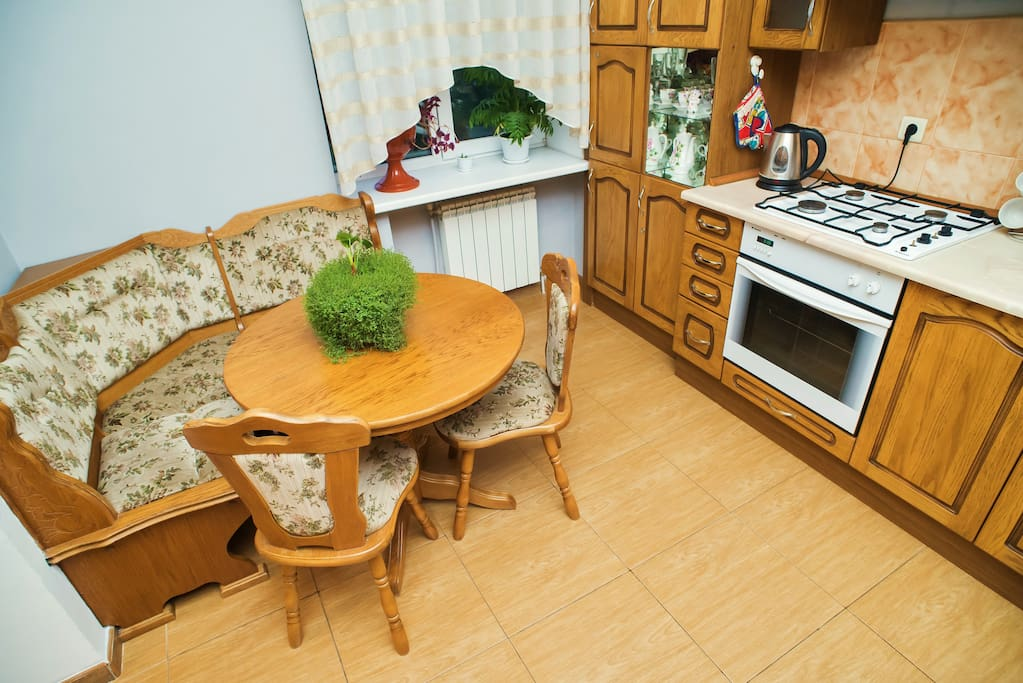 The sitting space in the kitchen.