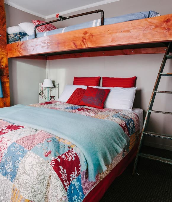 Loft-style single bed over Queen Bed in Patchwork Room