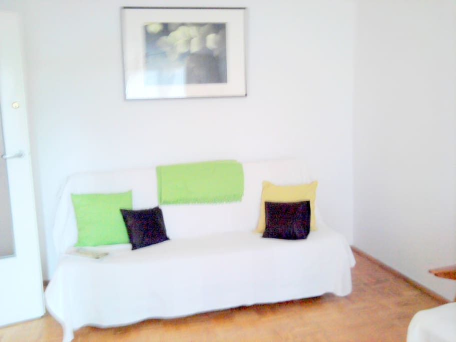 Double folded sofa bed , new - pics from the other bedroom available mid May - being redecorating now