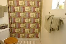 Full bath with grab bars in shower.