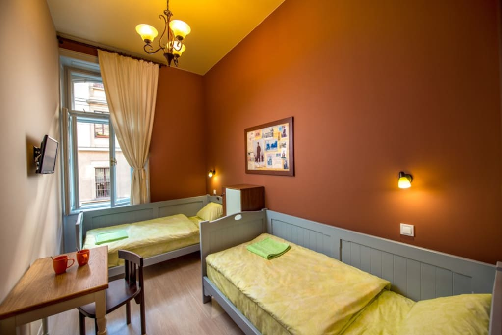 Double room with twin beds at hostel