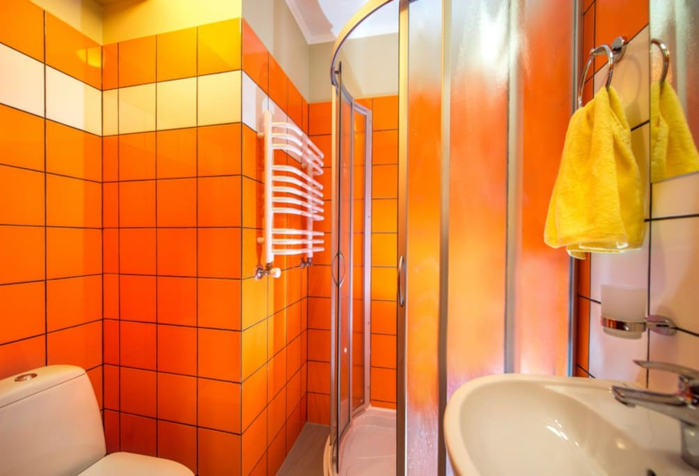 Separate male and female shared bathrooms (shower, toilet)