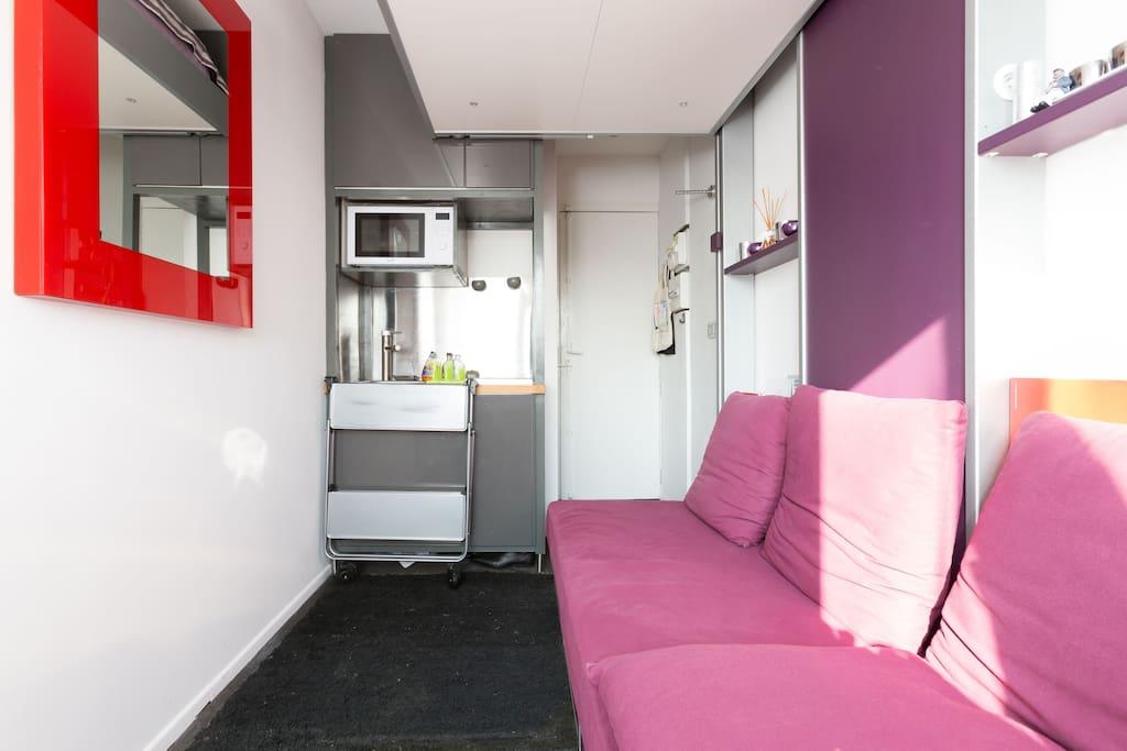 Double Bed removable up/down. Lit double position haute.