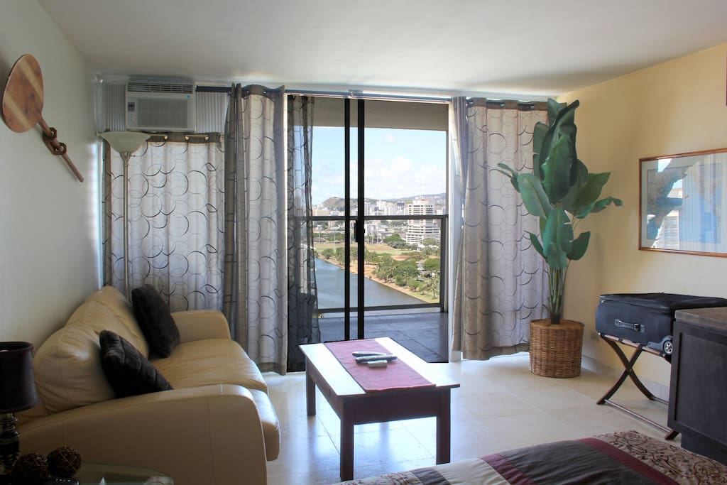 The living area opens to the Lanai by wall to wall glass and a sliding glass door.  When you want to take refuge in your temple of tranquility you can adjust the sheer curtains and black out drapes as you wish.