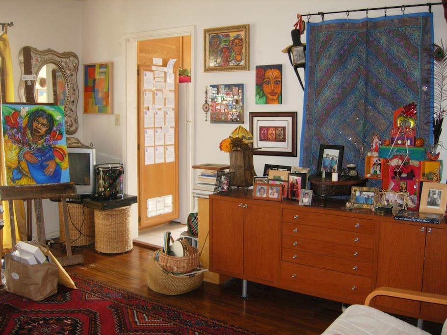 Livingroom view towards kitchen.