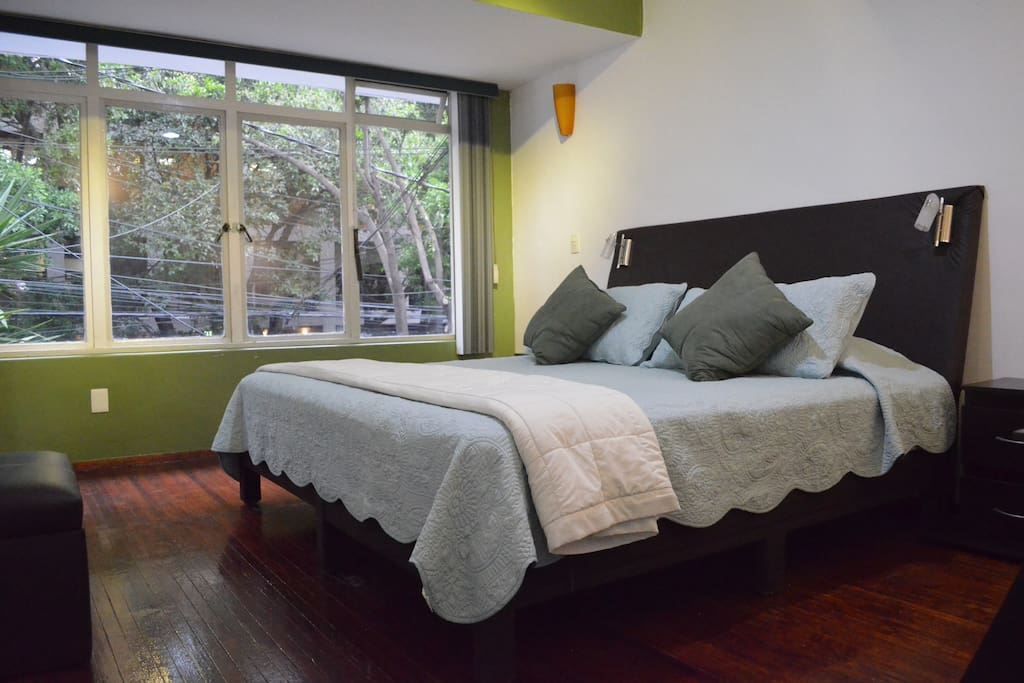 Large bedroom with street view