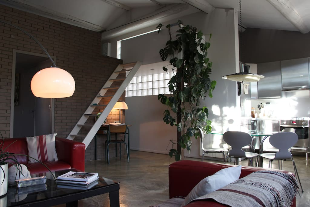salon, cuisine et accès mezzanine