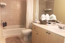 Large bathroom. We provide shampoo, conditioner, body wash and hand soap.