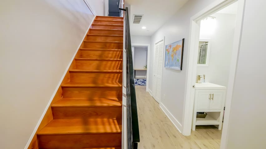 On your floor is just your room, bathroom, laundry room, and rec room. Keep in mind that your room is down one flight of stairs. The house is a vertical one, so coming up to the roof will also require you to climb stairs.