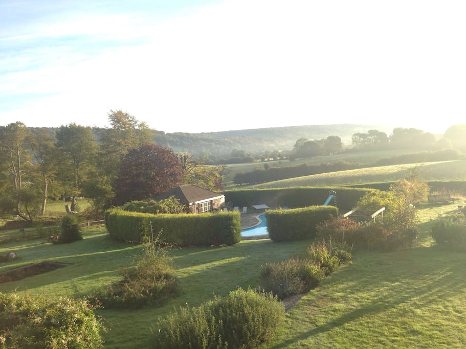 Spectacular views over the Surrey Hills from a serene spot