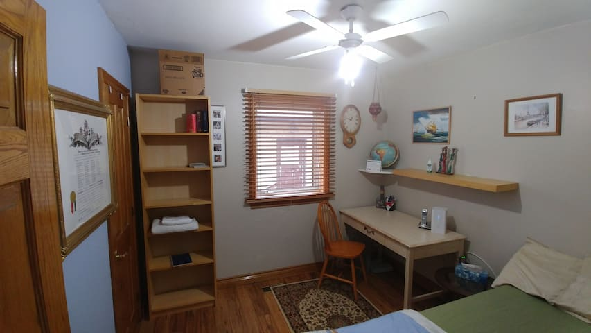 Shelves and closet in bedroom