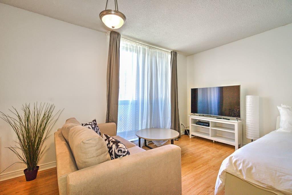 sofa, coffee table, TV