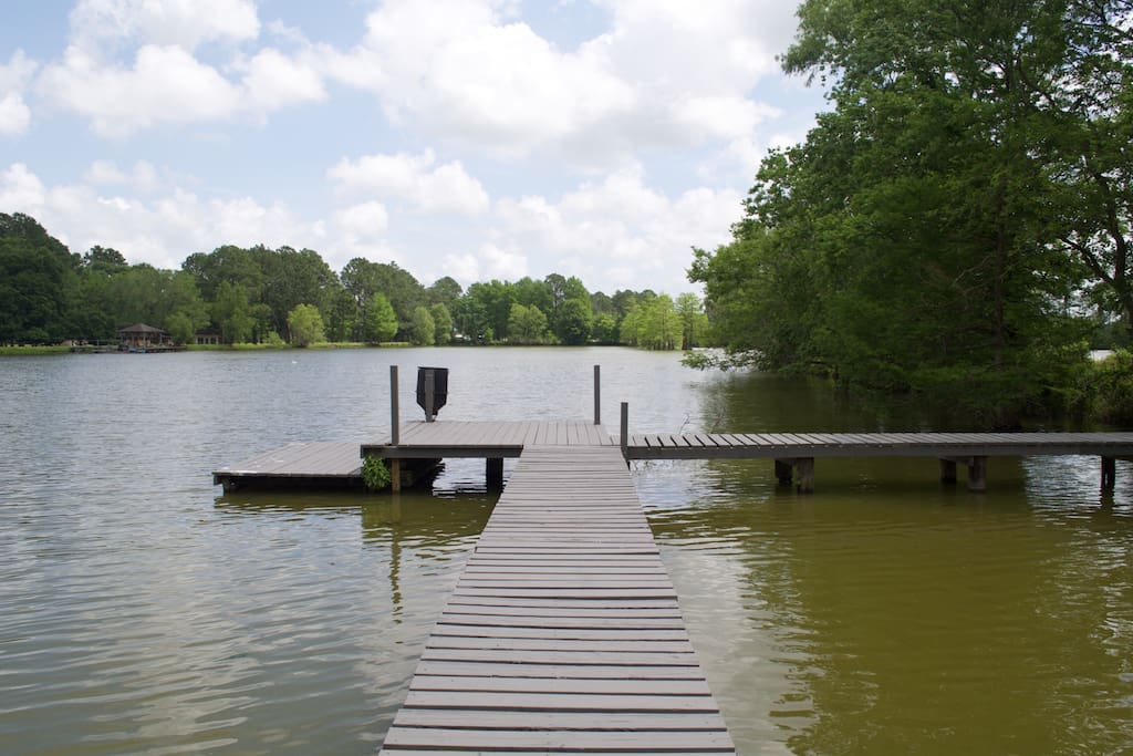 Dock on cabin side of pond