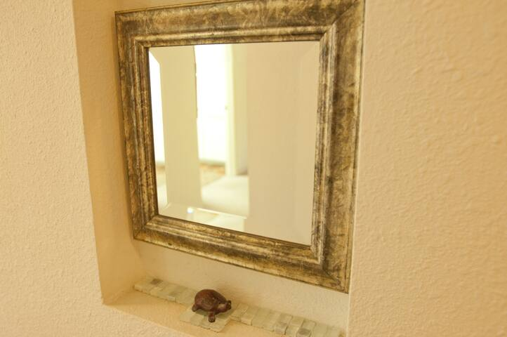 Corridor between the guets rooms is protected by small tortoise and mirror
