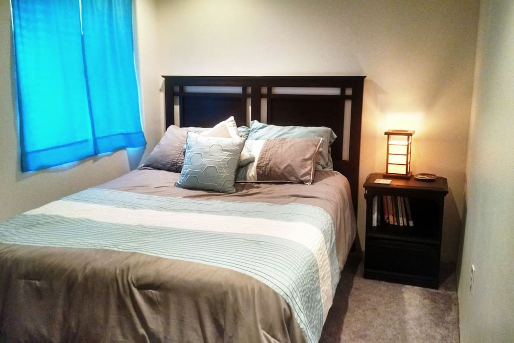 Super comfy new queen mattress.  A soft robe for you to use is in the closet.