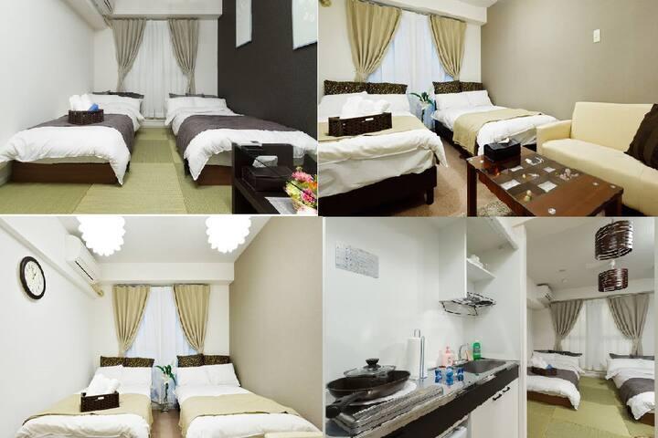 Cozy apartment for 4, Kaiyukan, USJ, WIFI  202&205