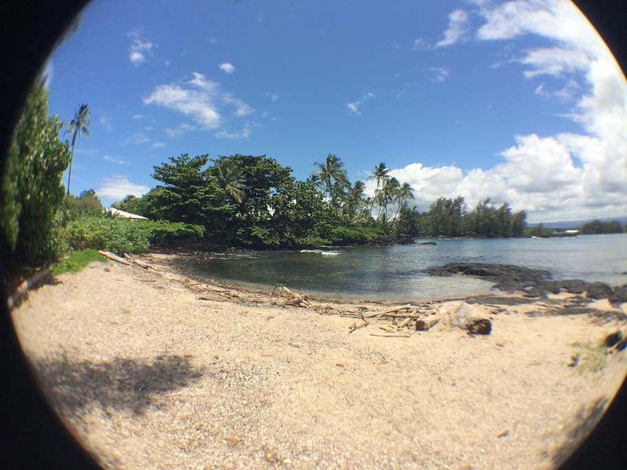 This beach is a short one minute walk from the studio; just walk to the end of the block. Downtown Hilo is only 3 minutes driving away
