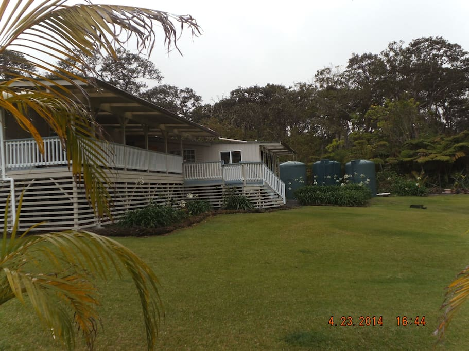 This is the back side of the house with the covered lanai and private entrances.