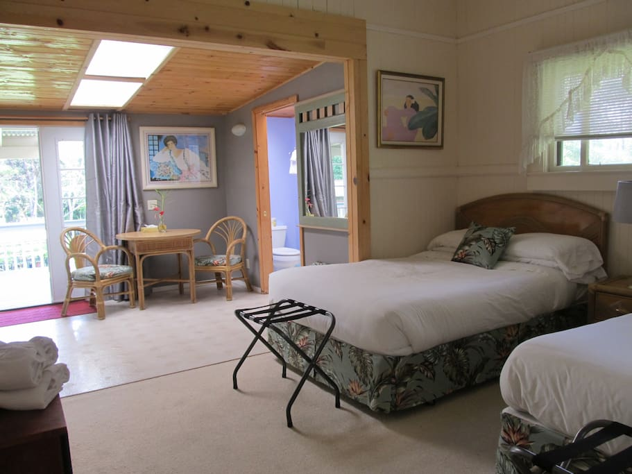 This is the Alpine Room with 2 Full beds, kitchenette and private entrance.
