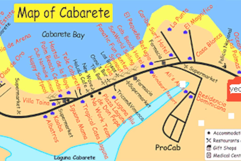 Our location is at the east edge of Cabarete - shown in the orange rectangle